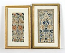 TWO PAIRS OF FRAMED SILK NEEDLEWORK SLEEVE BANDS In butterfly and peony design. Mat openings 14.75