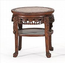 ROUGE MARBLE-TOP STAND In circular form with pierced floral-carved apron and animalistic-carved legs with claw feet. Height 19