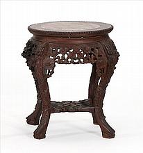 ROUGE MARBLE-TOP STAND In circular form with pierced floral apron. Height 19.5
