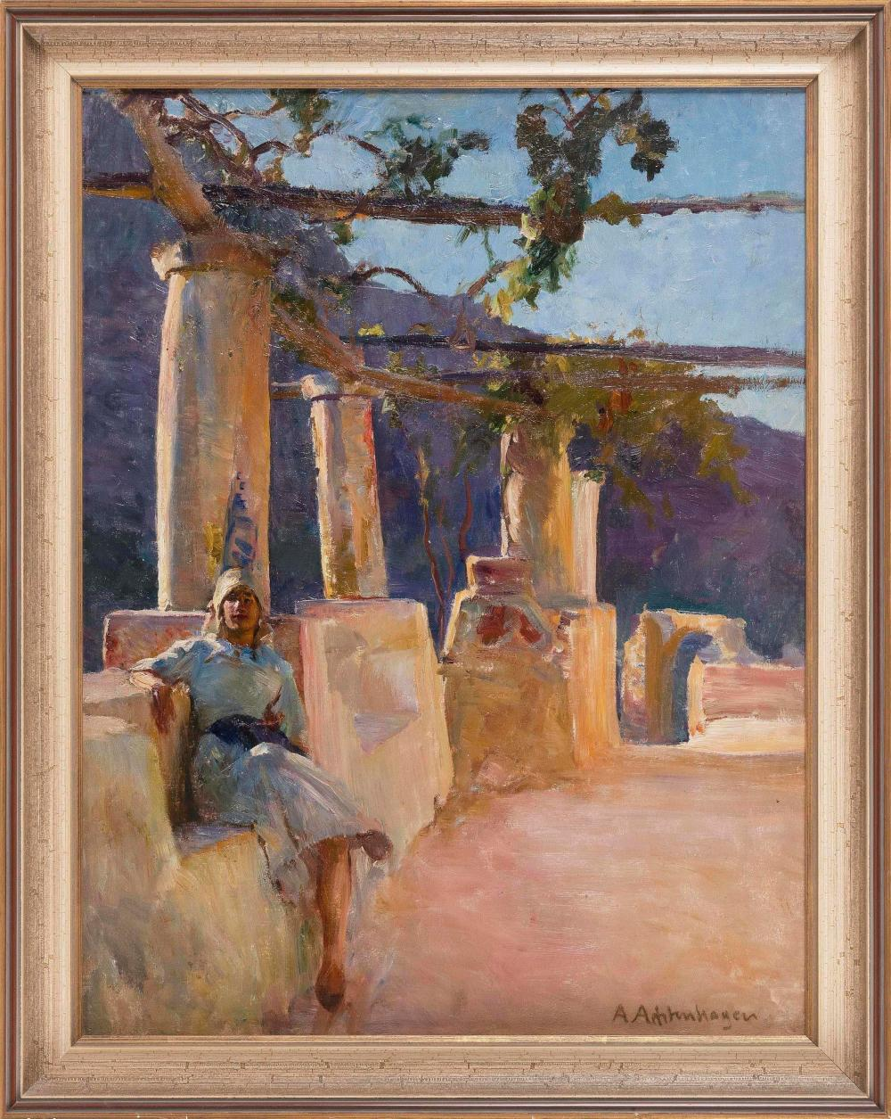 """AUGUST ACHTENHAGEN (Germany, 1865-1938), Woman seated beneath an arbor., Oil on canvas, 24.5"""" x 18.5"""". Framed 27.5"""" x 22""""."""