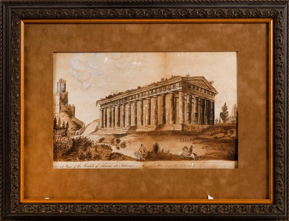 """ATTRIBUTED TO ROBERT ADAM (Scotland/England, 1728-1792), """"A View of the Temple of Theseus Athens""""., Watercolor on paper, 8"""" x 13"""" sight. Framed 15.5"""" x 20.5""""."""