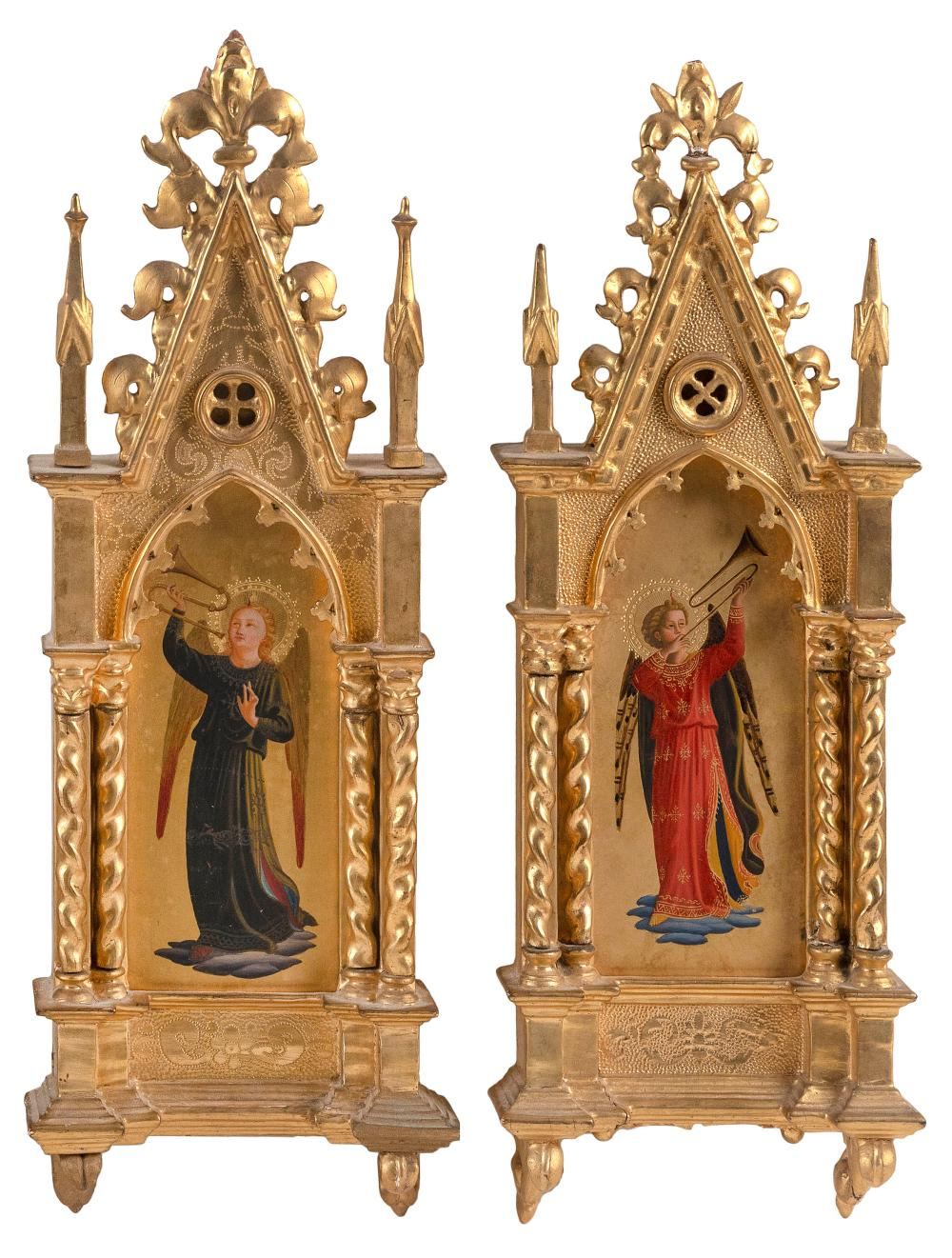 """PAIR OF FLORENTINE GRAND TOUR PAINTINGS OF ANGELS AFTER FRA ANGELICO Late 19th Century Heights 17.25""""."""