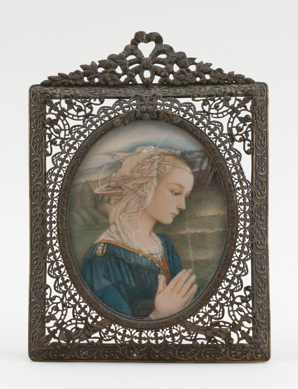 """GRAND TOUR PORTRAIT MINIATURE Late 19th Century Portrait height 3.25"""". Frame height 5.5""""."""