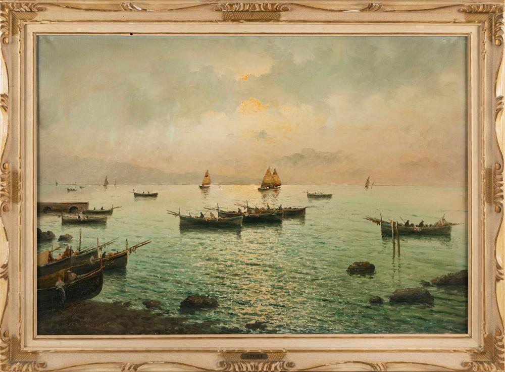 "VINCENZO D'AURIA (Italy, 1872-1939), Sunset over a bay., Oil on canvas, 27.5"" x 39.5"". Framed 35"" x 46""."