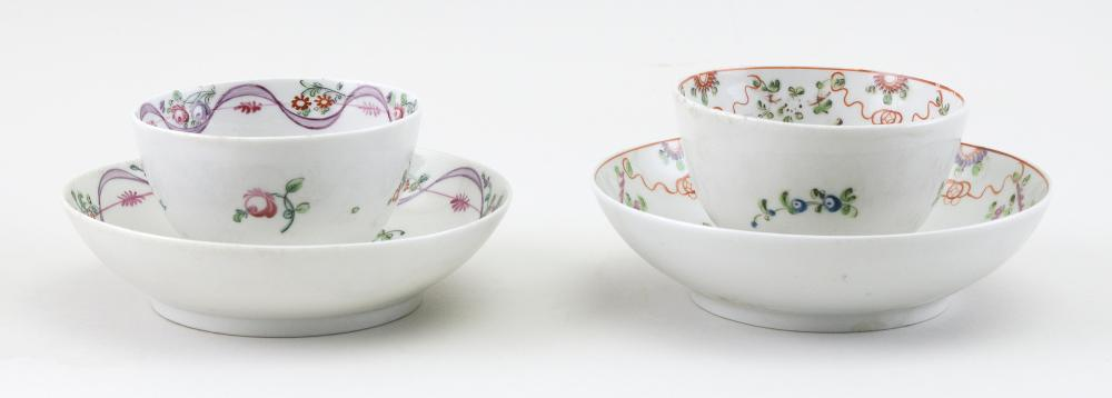 """TWO PORCELAIN TEA BOWLS AND SAUCERS ATTRIBUTED TO BRISTOL Late 18th/Early 19th Century Saucer diameters 5""""."""