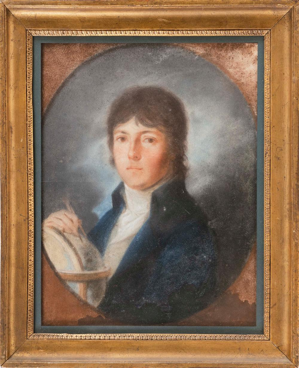 """PASTEL PORTRAIT OF A YOUNG MAN 19th Century Pastel on paper, 10.5"""" x 13.5"""". Framed 17"""" x 13.75""""."""