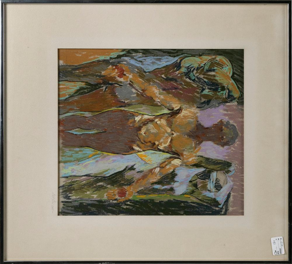 "DREW STRUZAN (California, b. 1947), Nude study., Mixed media on paper, 15.5"" x 14"" sight. Framed 25"" x 22""."