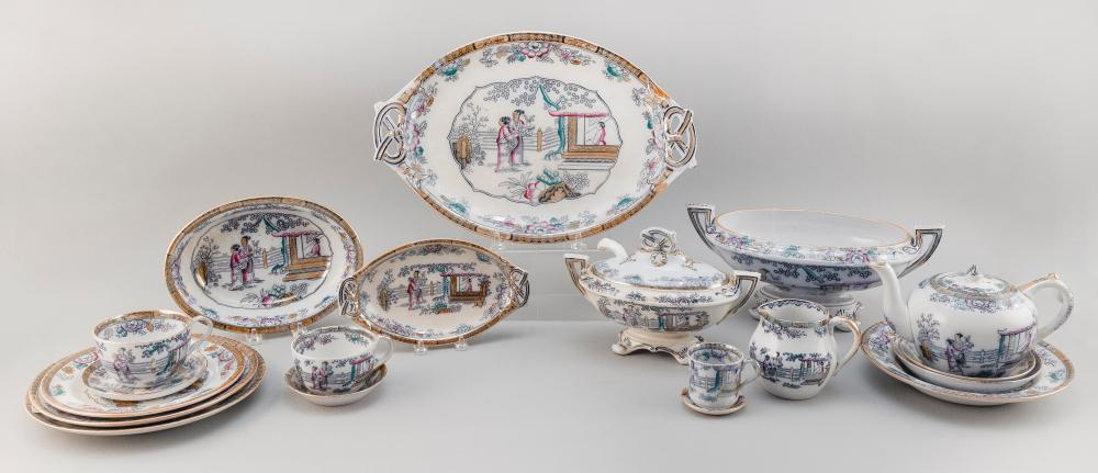 LARGE ASSEMBLED COLLECTION OF BW & CO. GILDEA & WALKER ENGLISH PORCELAIN WITH HAND-PAINTED AND TRANSFER DECORATION OF AN ASIAN SCENE Circa 1870s