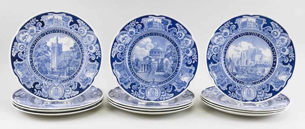 "SET OF TWELVE WEDGWOOD COLUMBIA UNIVERSITY BLUE TRANSFERWARE PLATES England, Circa 1932 Diameters 10.75""."