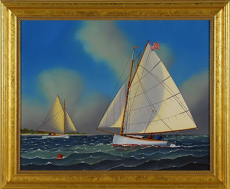 JEROME HOWES, American, b. 1955, Catboats off Nantucket., Oil on masonite, 16