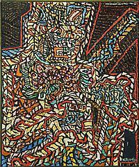 "NICHOLAS GEORGE SPERAKIS, American, b. 1943, ""The Armed Phantom""., Mixed media on canvas, 59"" x 43¾"". Framed."