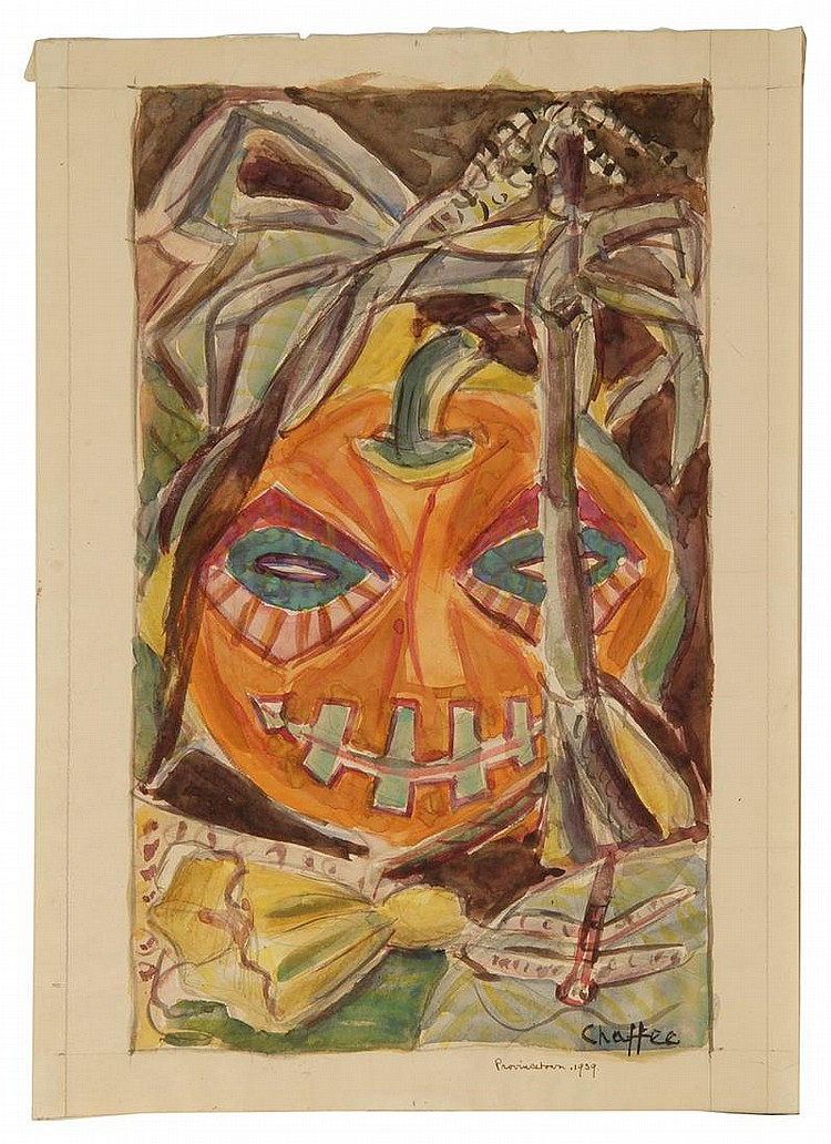 OLIVER NEWBERRY CHAFFEE, JR., American, 1881-1944, Jack-O'-Lantern., Watercolor and pencil on paper, 15