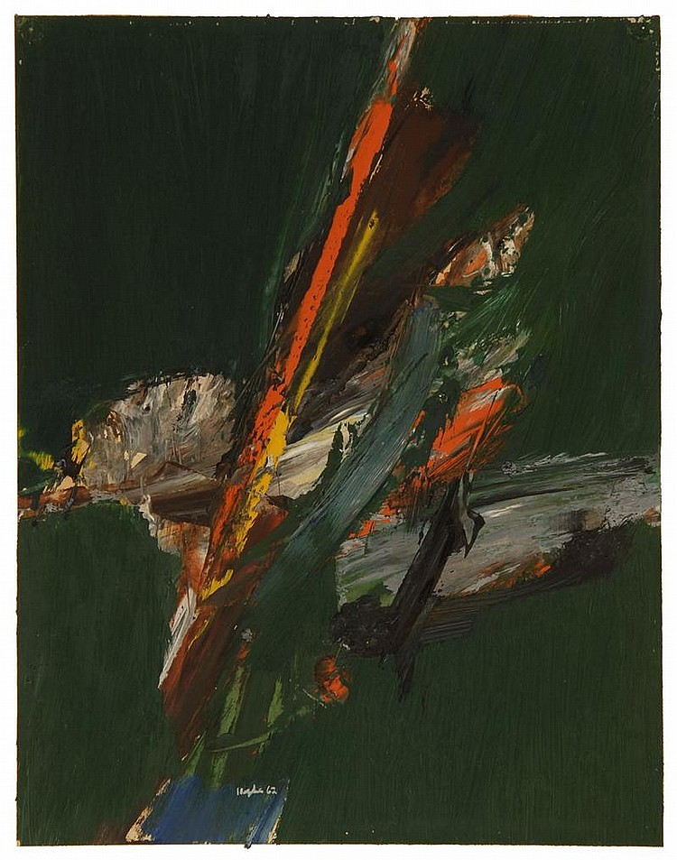 BUDD HOPKINS, American, 1931-2011, Abstract., Oil on paper, 14