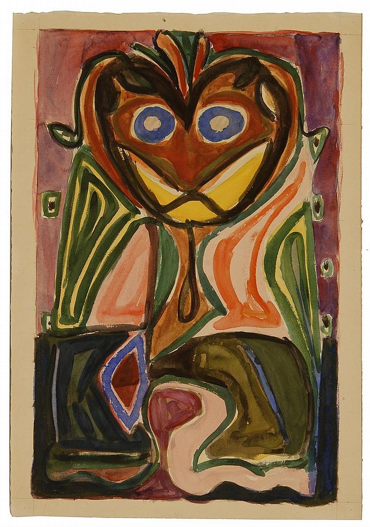 OLIVER NEWBERRY CHAFFEE, JR., American, 1881-1944, Abstract face., Watercolor on paper, 20