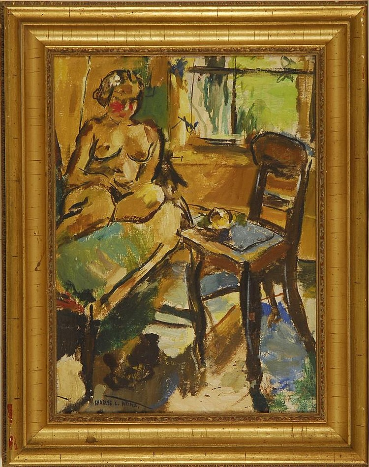 CHARLES LLOYD HEINZ, American, 1884-1953, Interior scene with seated nude., Oil on canvas, 20