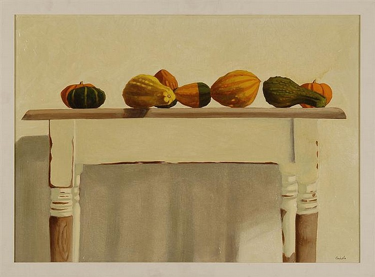 MICHAEL COSTELLO, American, Contemporary, Gourds on a Shaker-style table., Oil on canvas, 22