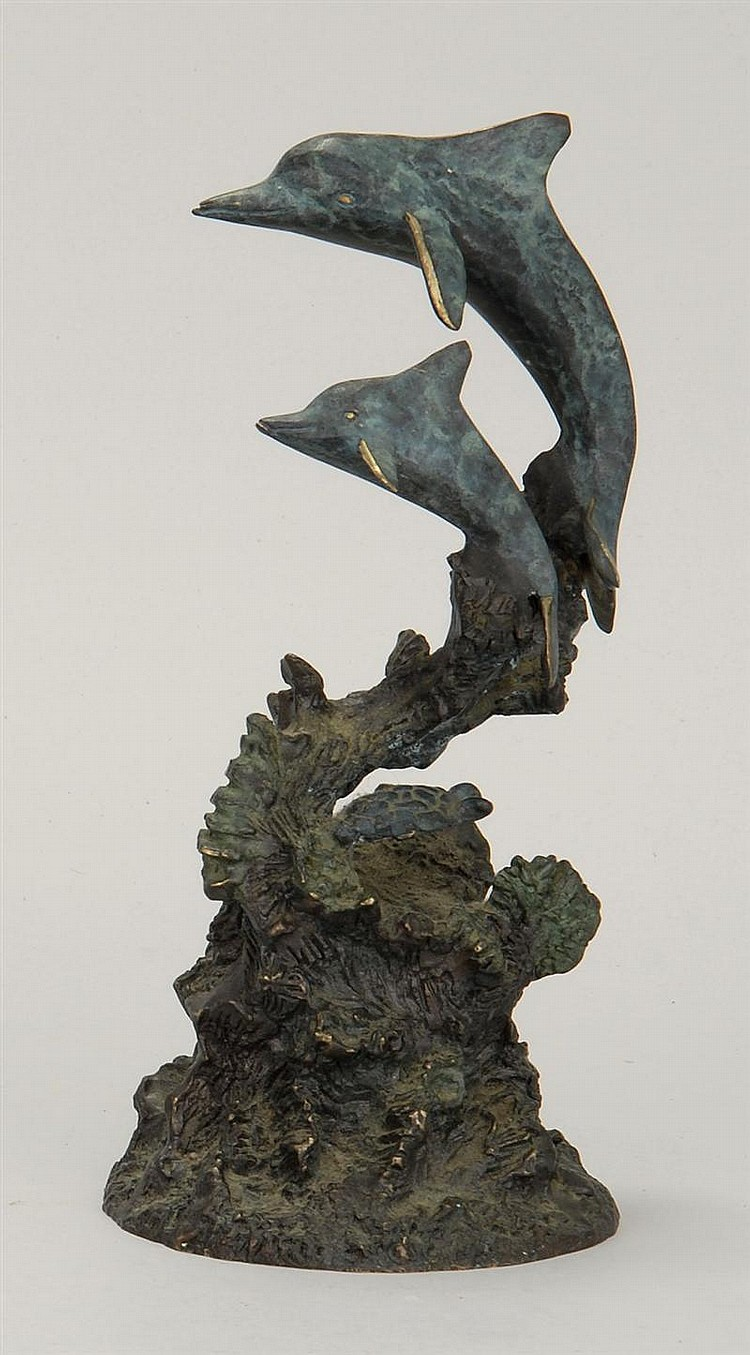 DANIEL RAY PARKER, American, b. 1959, Leaping dolphins and a turtle mounted on a coral reef-form base., Height 8