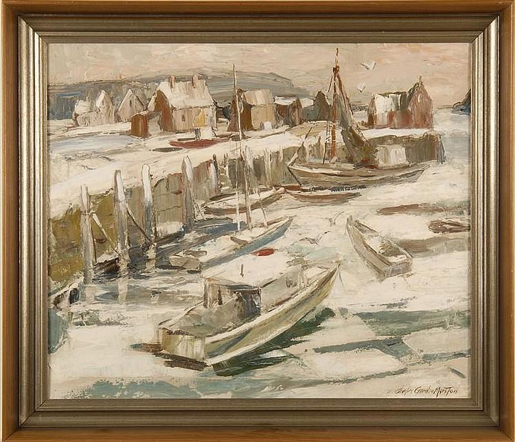 CHARLES GORDON MARSTON, American, 1898-1980, Gloucester Harbor in winter., Oil on board, 22