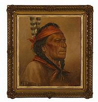 """HENRY METZGER, American, 1876-1949, Portrait of a Native American., Oil on canvas, 16"""" x 14"""". Framed."""