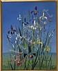VIRGINIA BERRESFORD, Martha's Vineyard, 1902-1995, Irises in purples, white and yellow., Oil on board, 20