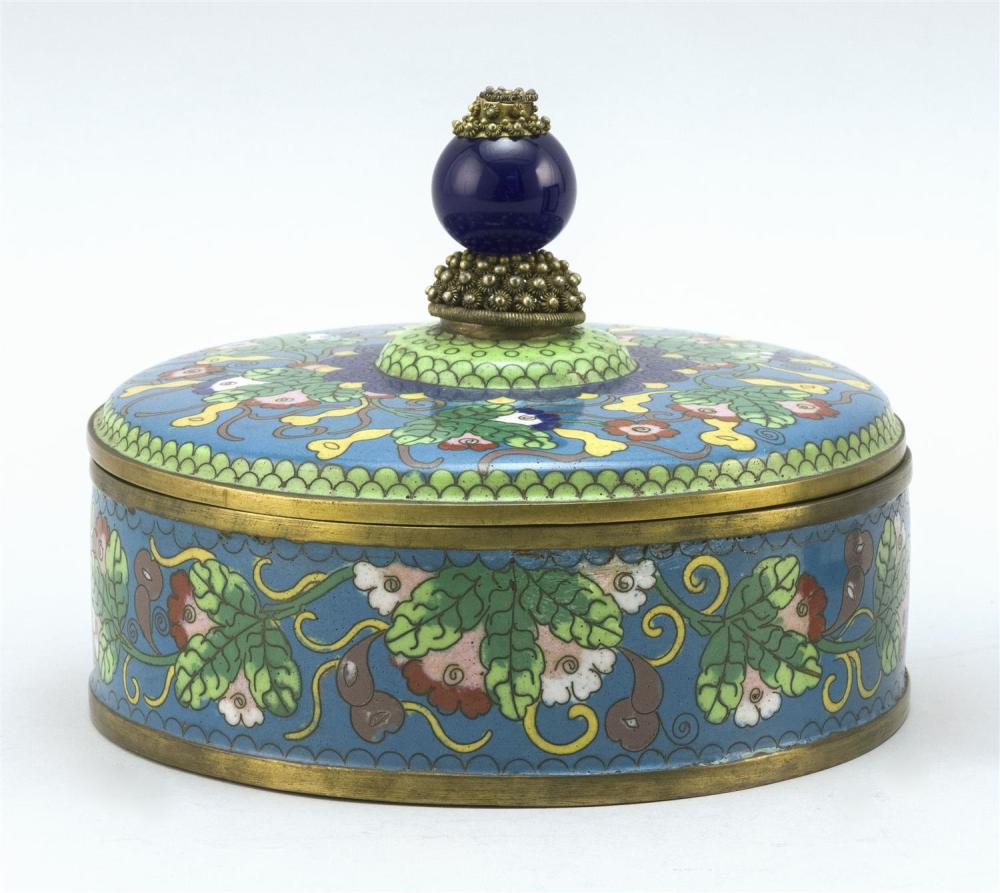 CHINESE CLOISONNÉ ENAMEL COVERED BOX Circular, with gourd and flower design. Cover fitted with blue glass mandarin hat bead and is i...