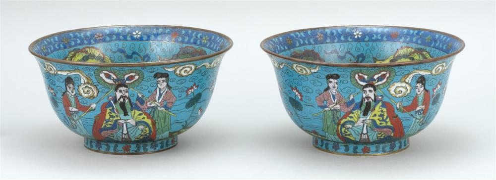 PAIR OF CHINESE CLOISONNÉ ENAMEL BOWLS In bell form. Interiors decorated with lotus surrounded by guardian lions. Exteriors with myt...