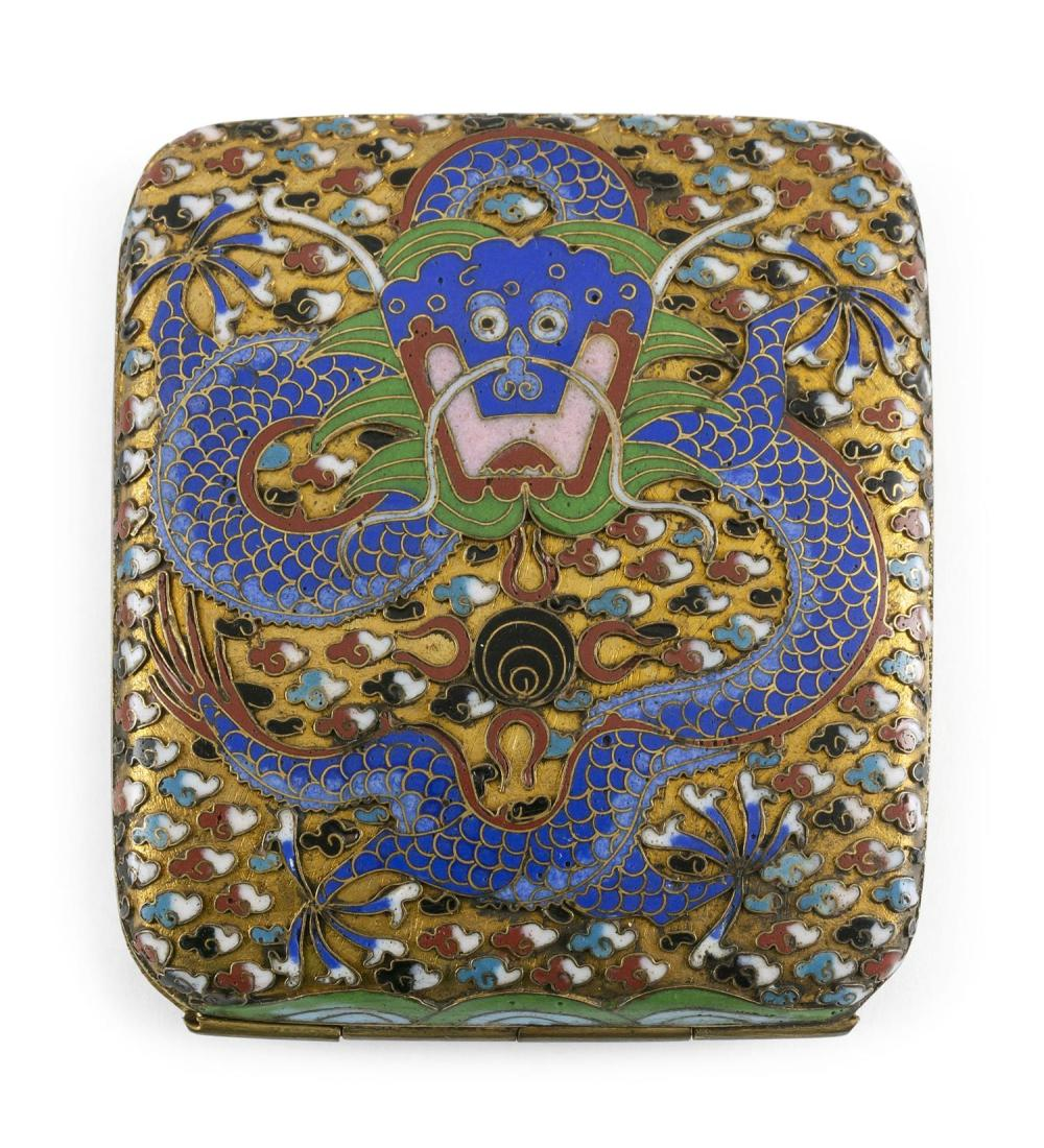 "CHINESE CLOISONNÉ ENAMEL CIGARETTE CASE With a five-clawed dragon design on a gold ground. Length 3.5""."