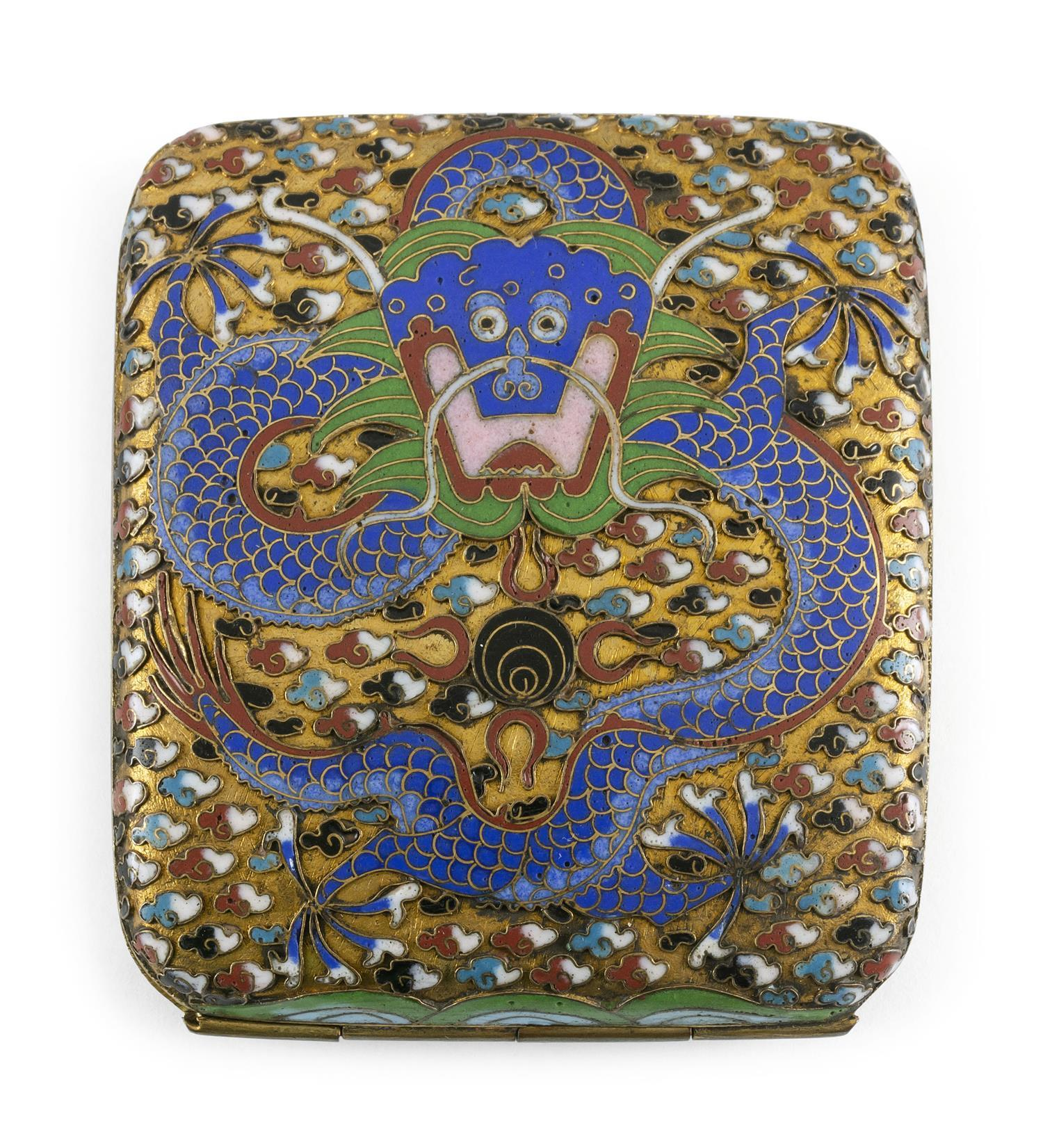 """CHINESE CLOISONNÉ ENAMEL CIGARETTE CASE With a five-clawed dragon design on a gold ground. Length 3.5""""."""