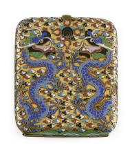"Lot 906: CHINESE CLOISONNÉ ENAMEL CIGARETTE CASE With a five-clawed dragon design on a gold ground. Length 3.5""."