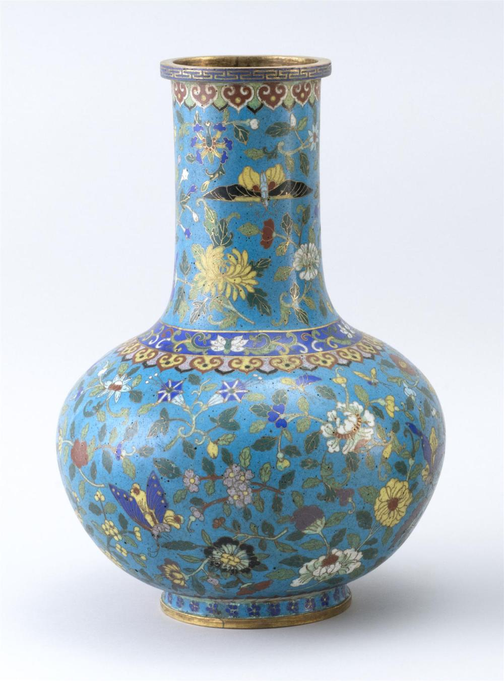 "CHINESE CLOISONNÉ ENAMEL VASE In mallet form, with flower and butterfly design on a blue ground. Height 12.75""."