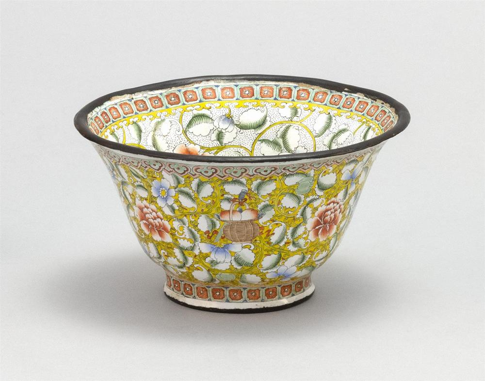 "CHINESE PAINTED BEIJING ENAMEL CUP In bell form, with fruit and flower design. Four-character Qianlong mark on base. Diameter 4.3""."