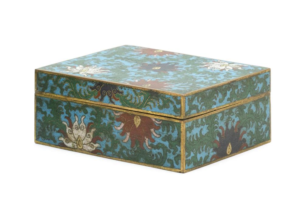 "CHINESE CLOISONNÉ ENAMEL COVERED BOX Rectangular, with passionflower design on a blue ground. Two-character ""Ta Ming"" mark on base...."