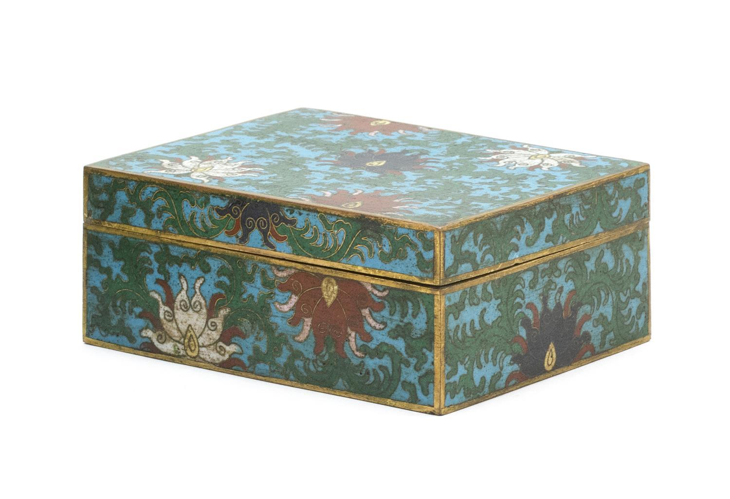"""CHINESE CLOISONNÉ ENAMEL COVERED BOX Rectangular, with passionflower design on a blue ground. Two-character """"Ta Ming"""" mark on base...."""