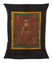 """Lot 926: TIBETAN THANKA Depicting Buddha enthroned with four attendants. Executed in gold on a red ground with some blue highlights. 22"""" x 17..."""