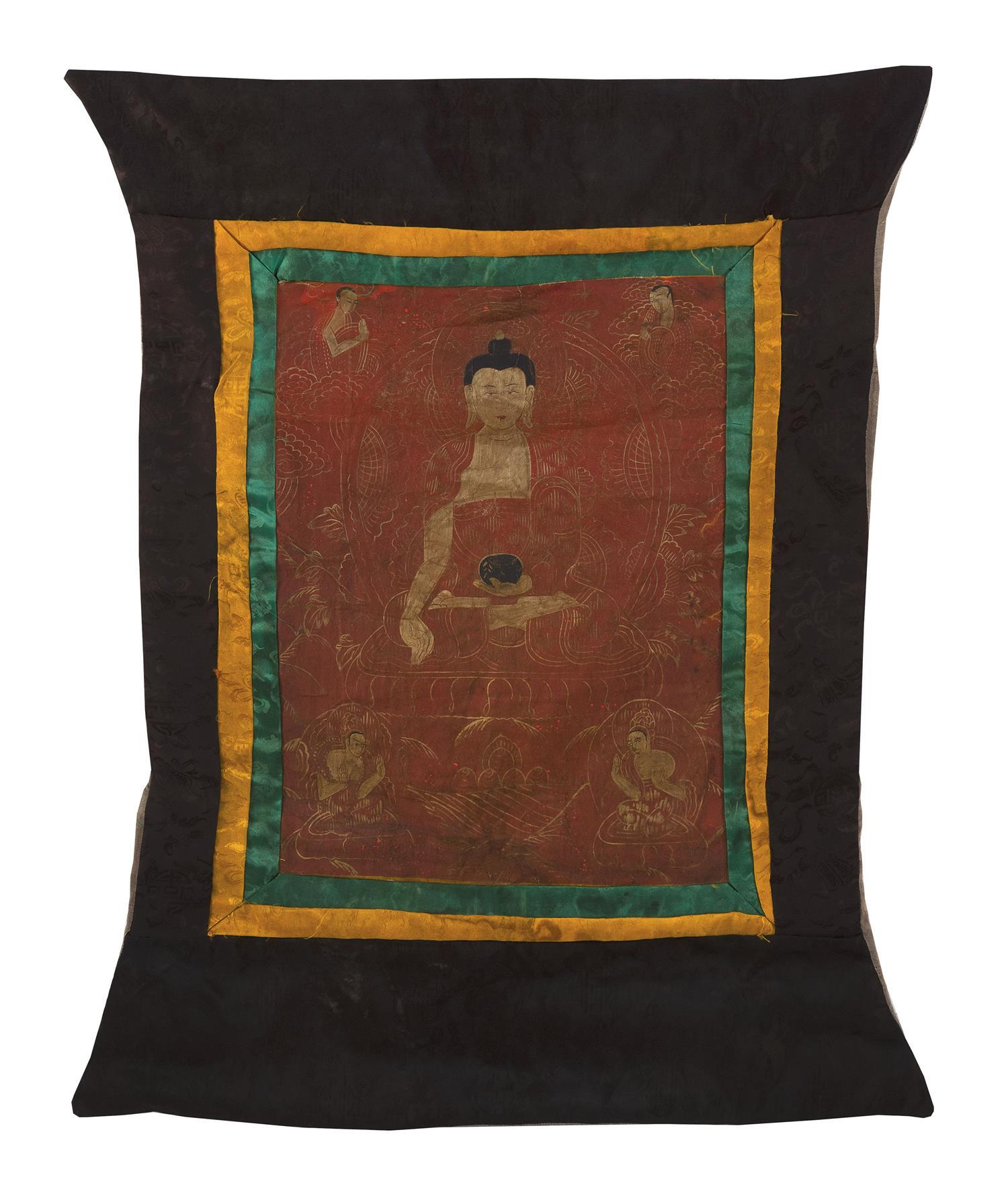 """TIBETAN THANKA Depicting Buddha enthroned with four attendants. Executed in gold on a red ground with some blue highlights. 22"""" x 17..."""