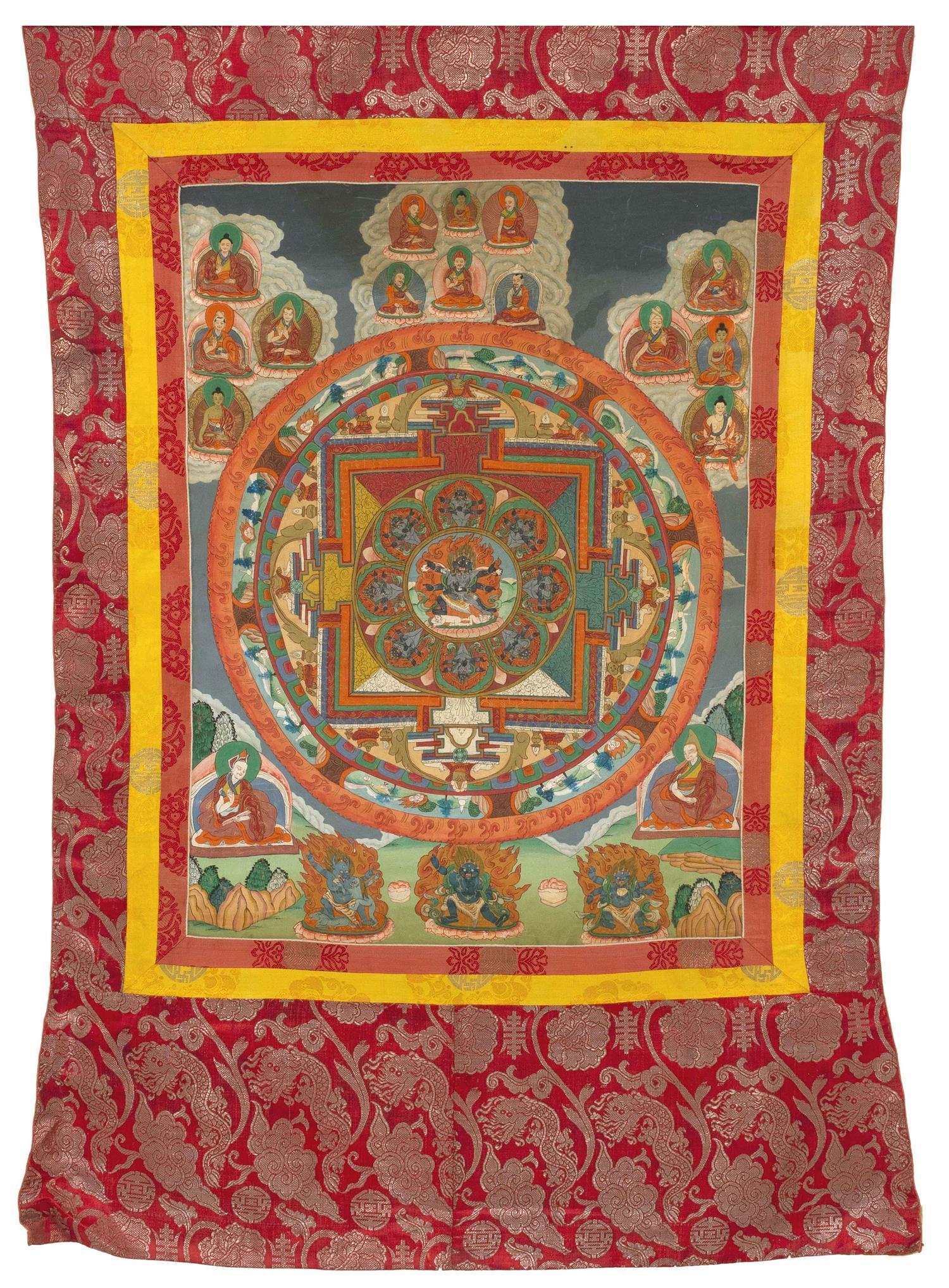"TIBETAN THANKA In mandala design, with central figure of Mahakala surrounded by various deities. 30"" x 22""."