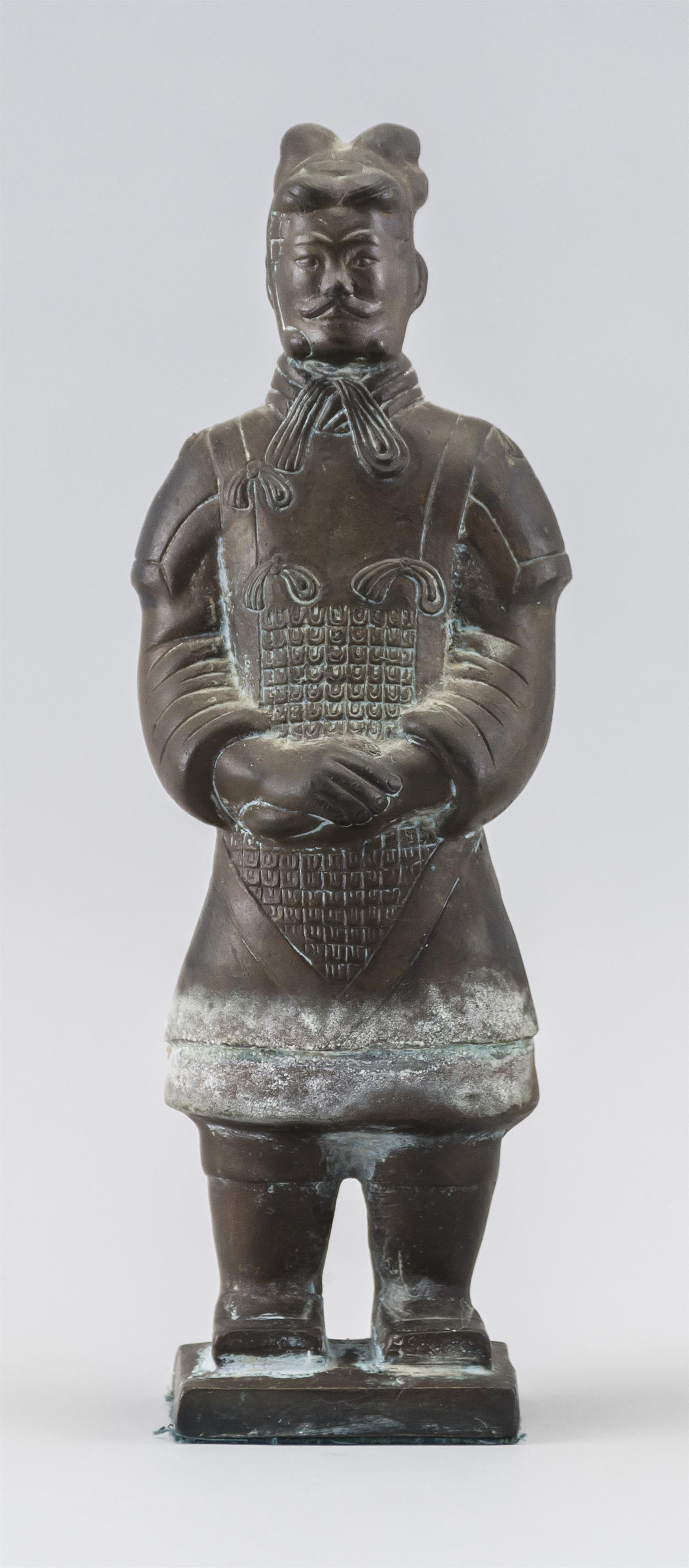 """CHINESE BRONZE FIGURE OF A WARRIOR Standing on a square base. Height 9""""."""