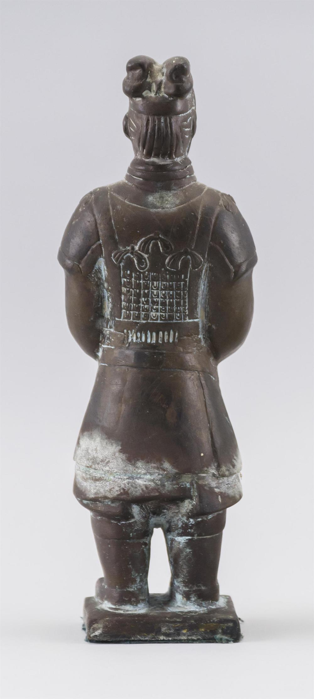 """Lot 937: CHINESE BRONZE FIGURE OF A WARRIOR Standing on a square base. Height 9""""."""