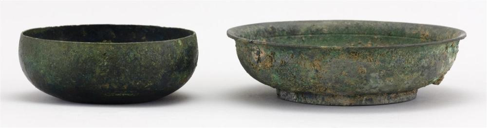 "CHINESE FUNERARY JAR A footed bowl with elevated rim, diameter 5.4"". Together with an ovoid bowl, diameter 4""."