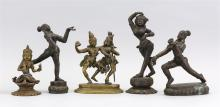 "Lot 949: FIVE INDIAN BRONZE FIGURE GROUPS A female dancer, height 8"", a dancer holding an oil lamp, height 7.25"", a dancer on a double lotus..."