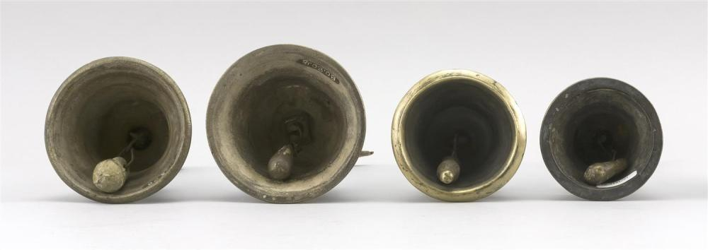 FOUR INDIAN BRASS TEMPLE BELLS One with an elephant handle, height 9.75