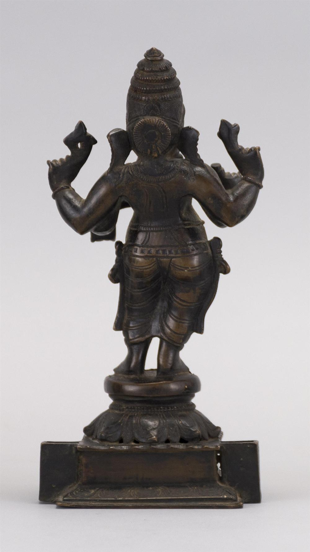 """Lot 961: CHINESE BRONZE FIGURE OF GANESH Standing on a lotus base. Height 7.5""""."""