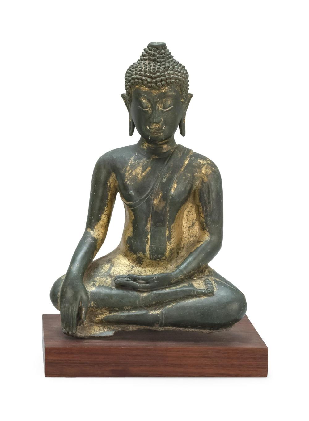 "THAI GILT-BRONZE FIGURE OF BUDDHA Seated in earth touching position. Open ushnisha; no flame finial. Height 13""."