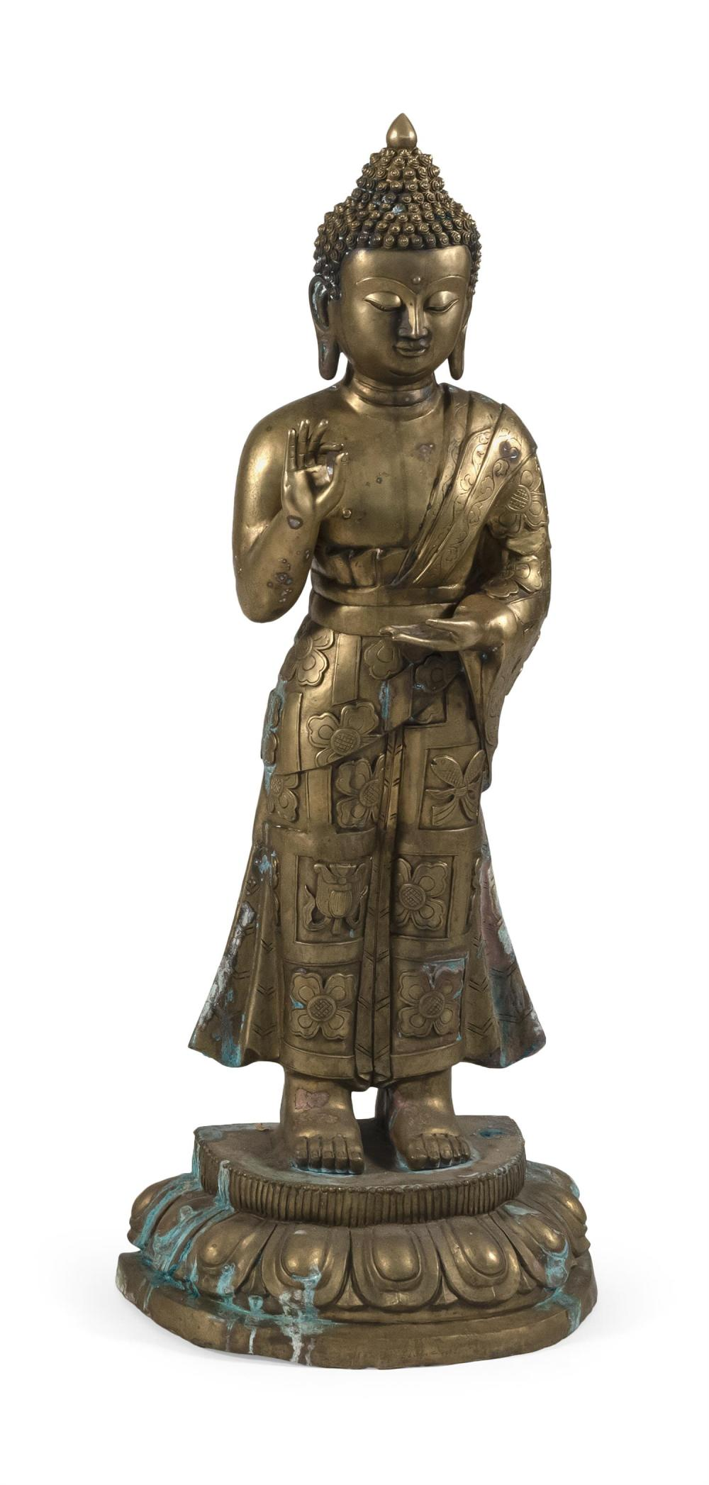 "CHINESE BRONZE FIGURE OF BUDDHA Standing and with a tightly curled top knot and flowing robes. Height 45.5""."