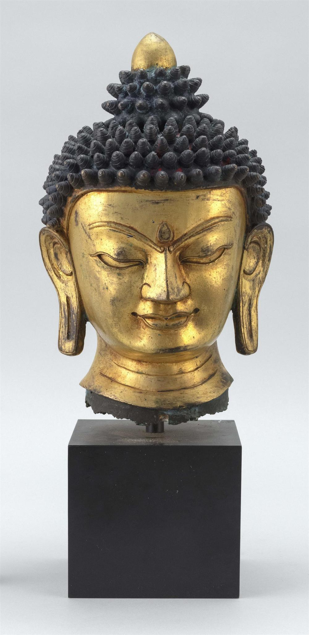 "GILT-BRONZE HEAD OF BUDDHA With tightly curled top knots. Shaded in blue. Height 9.25""."
