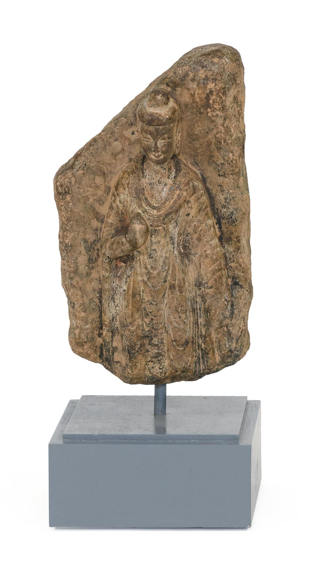 "CHINESE STONE CARVING With high relief depiction of a standing Buddha. Height 15.5"". Separate base."
