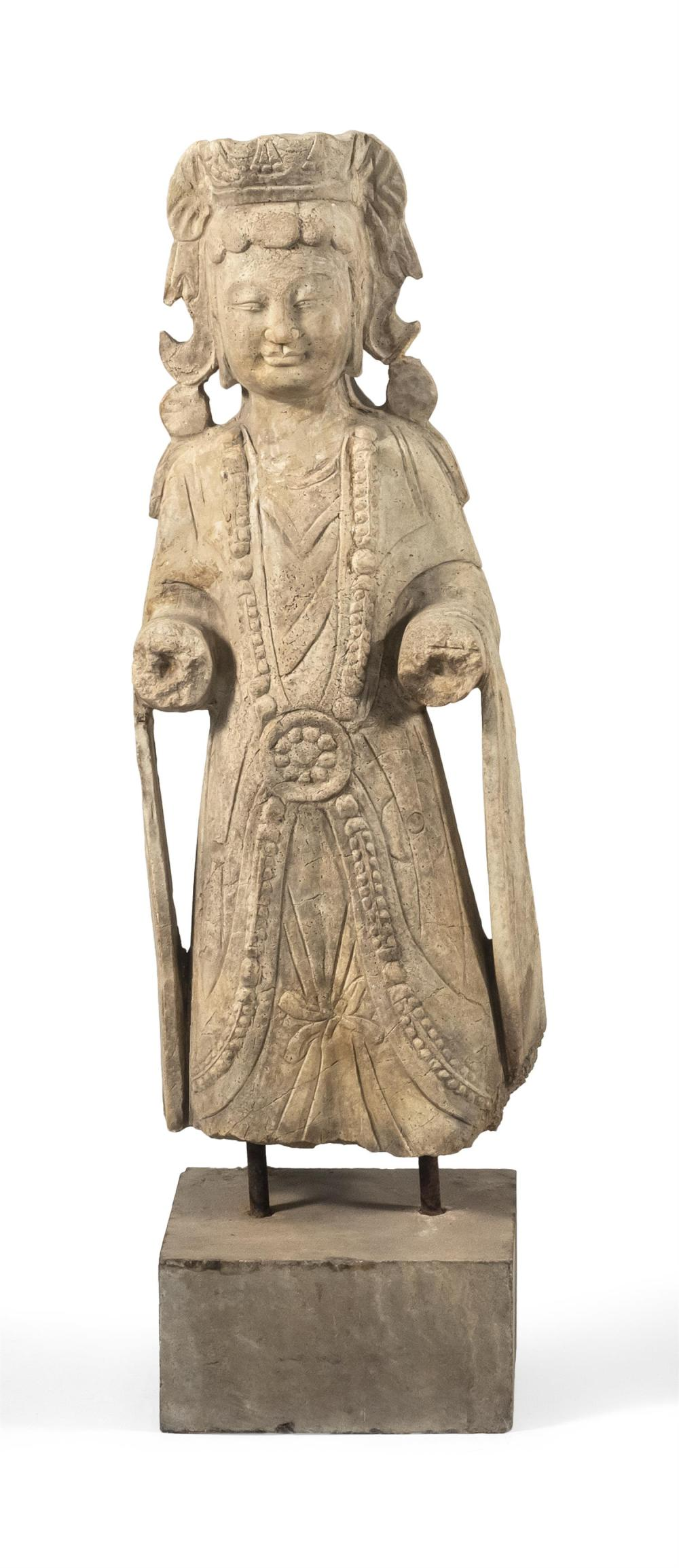 "CHINESE SANDSTONE FIGURE Standing, wearing a jeweled necklace and flowing robes. Height 32""."