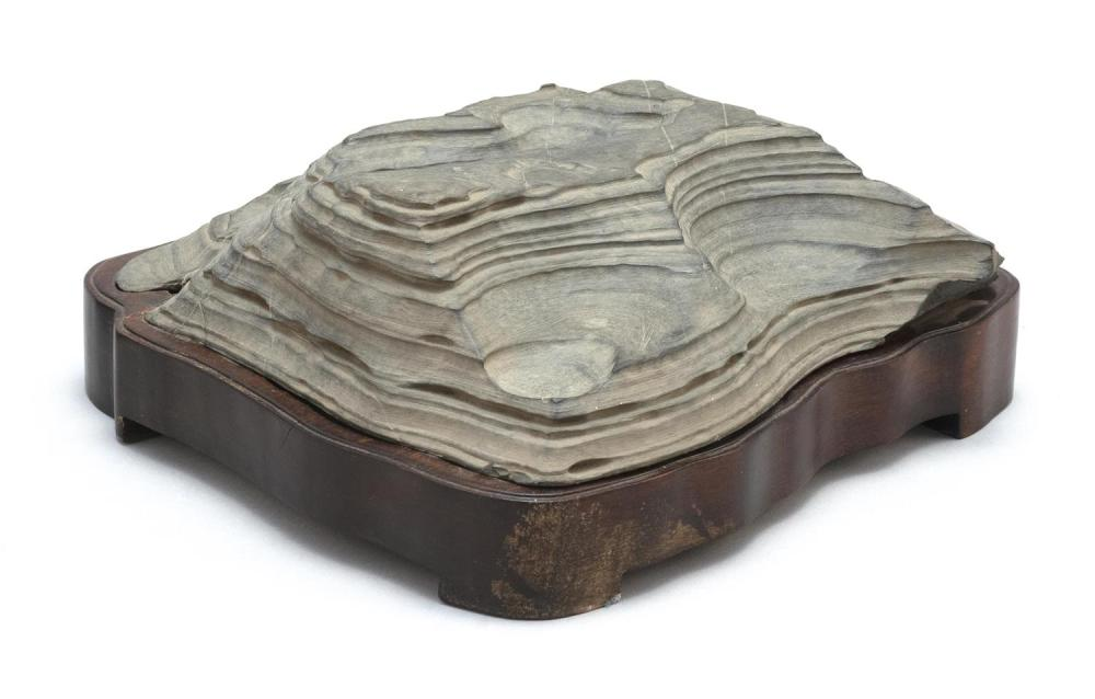 "CHINESE GRAY SCHOLAR'S STONE ""EARTH STRATA"" Height 2.5"". Length 8.75""."