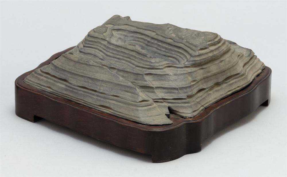 """Lot 1010: CHINESE GRAY SCHOLAR'S STONE """"EARTH STRATA"""" Height 2.5"""". Length 8.75""""."""