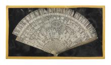 """Lot 1014: CHINESE EXPORT IVORY FOLDING BRISÉ FAN With figural landscape. Housed in a shadow box frame. 8"""" x 15"""". Not available for internation..."""